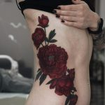 Lovely Red Peonies Side Body Tattoo