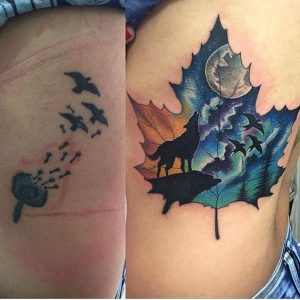 Lovely Maple Leaf Cover Up Tattoo