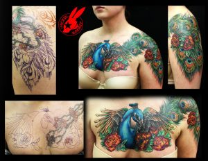 Meticulous Peacock Cover Up Chest Tattoo