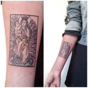 Mother And Child Forearm Tattoo