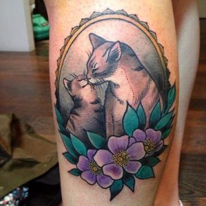 Mother and Kitty Leg Tattoo