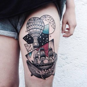 Poetic Graphic Inspired Thigh Tattoo