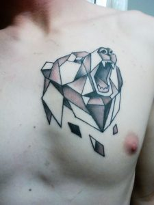 Poly Bear Chest Tattoo