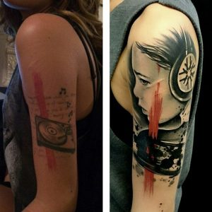 Portrait Cover Up Sleeve Tattoo
