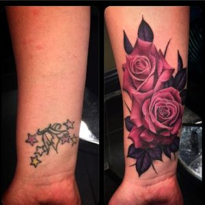 Red Roses Cover Up Forearm Tattoo