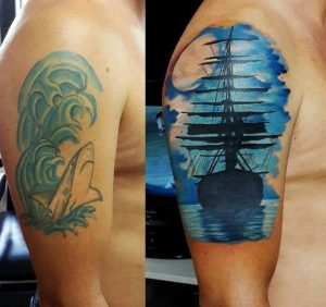 Ship Cover Up Arm Tattoo