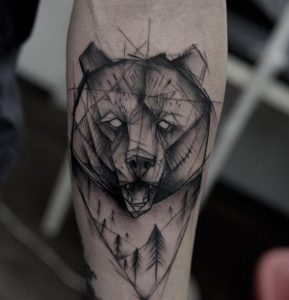 Sketch-Style Grizzly Bear Forearm Tattoo