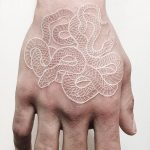 Snakes White Ink Hand Tattoo