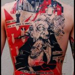 Splattered Graphic Style Back Tattoo