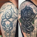 Stunning Black Roses Cover Up Arm Tattoo