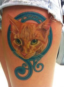 Tangy Cat Thigh Tattoo