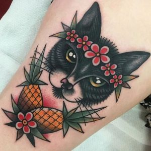 Traditional American Style Cat Tattoo