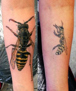 Wasp Cover Up Forearm Tattoo