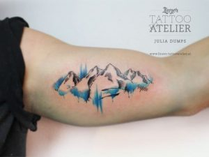 Watercolor Canmore Mountain Range Arm Tattoo