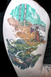 Watercolor Cartoon Inspired Landscape Thigh Tattoo