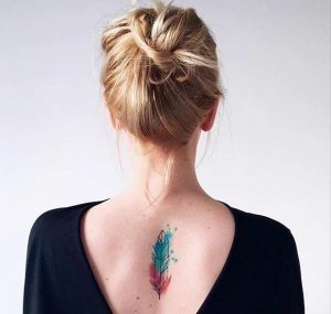Watercolor Feather Back Tattoo