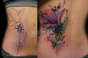 Watercolor Floral Cover Up Back Tattoo