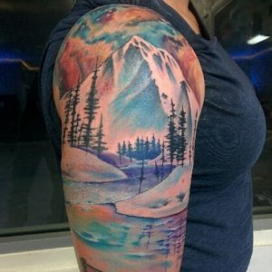 Watercolor Landscape At Night Arm Tattoo