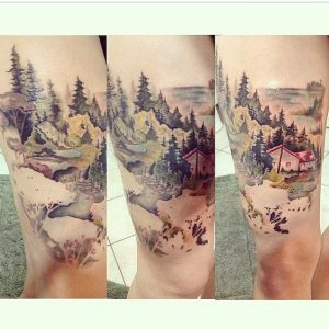 Watercolor Landscape Heights Thigh Tattoo