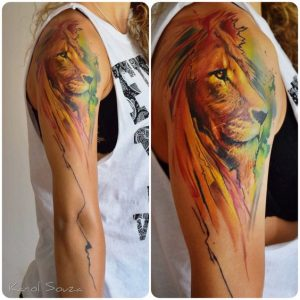 Watercolor Lion Arm Tattoo