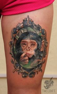 Watercolor Monkey Thigh Tattoo