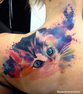 Watercolor Traditional Cat Back Tattoo