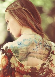 Watercolor Willow Back Tattoo