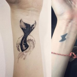 Whale's Tail Cover Up Wrist Tattoo