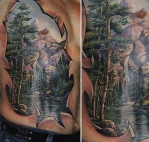 3D Lake Forest Full Chest Tattoo