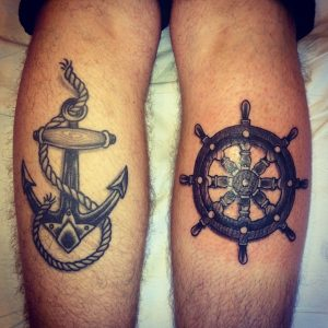 Anchor and Helm Calf Tattoo