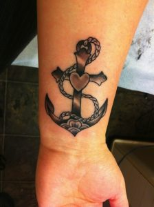 Anchor with Heart Wrist Tattoo
