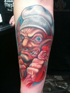 Angry Chef Arm Tattoo