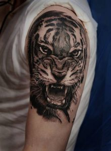 Angry Tiger Arm Tattoo