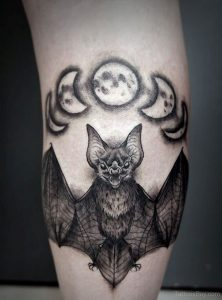 Bat and Phases of the Moon Calf Tattoo
