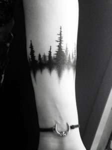 Black Forest with Reflection Forearm Tattoo