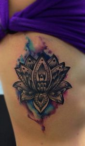 Black Mandala with Smoky Watercolor Background Side Tattoo