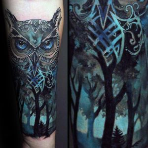 Black and Blue Owl Forest Forearm Sleeve Tattoo