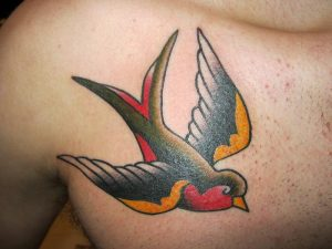Black and Red Sparrow Shoulder Tattoo