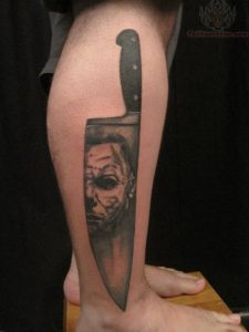 Chef Knife with Scary Face Calf Tattoo