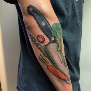 Chef Knife with Vegetables Sleeve Tattoo
