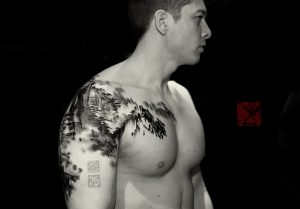 Chinese Forest Shoulder Tattoo