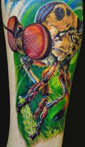Colorful 3D Realistic Fly Sleeve Tattoo