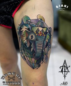 Colorful Elephant with the Eye Thigh Tattoo