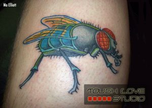 Colorful Graphical Fly Arm Tattoo