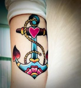 Colorful Heart Anchor Tricep Tattoo