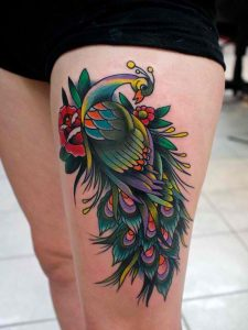 Colorful Peacock and Rose Thigh Tattoo
