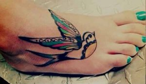 Colorful Sparrow Foot Tattoo