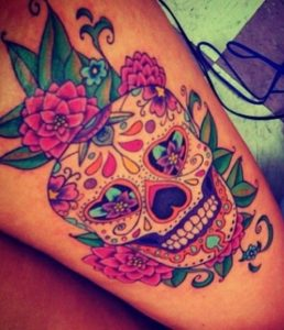Day of the Dead Skull Thigh Tattoo