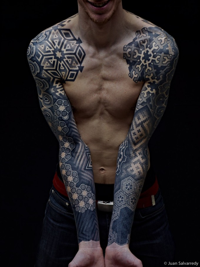 Different Style Combo Sleeve Tattoos