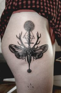 Dotted Moth Thigh Tattoo